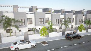Exterior de una promoción de viviendas de obra nueva en San Juan de Alicante
