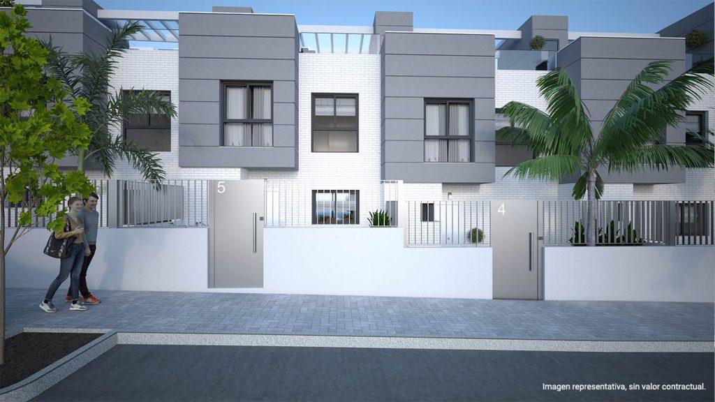 Fachada principal de la promoción de viviendas de obra nueva Los Álamos