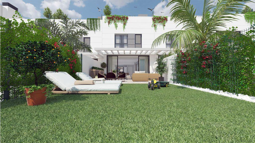Imagen del patio de una casa de obra nueva en San Juan de Alicante