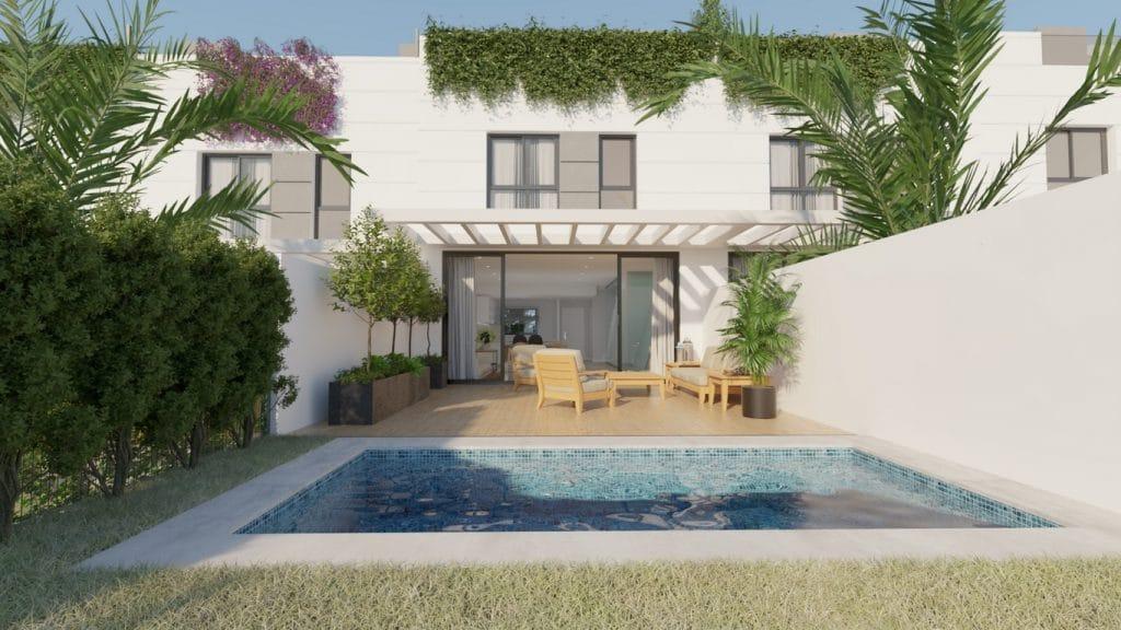 Casa adosada de obra nueva con piscina en San Juan de Alicante