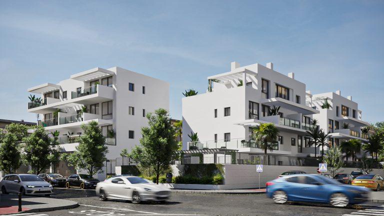 Exterior de una promoción de viviendas en San Juan de Alicante