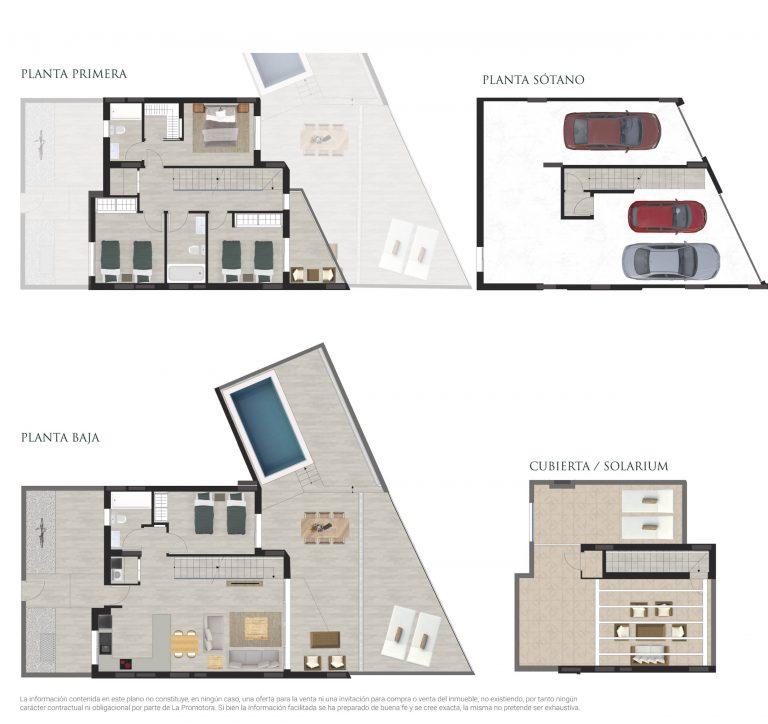 Plano de venta de una vivienda adosada con piscina en Alicante