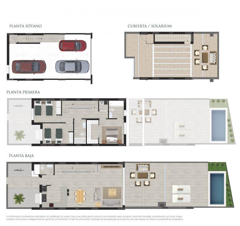 """Plano de venta de una casa adosada en Residencial """"Los Álamos"""" en San Juan de Alicante"""