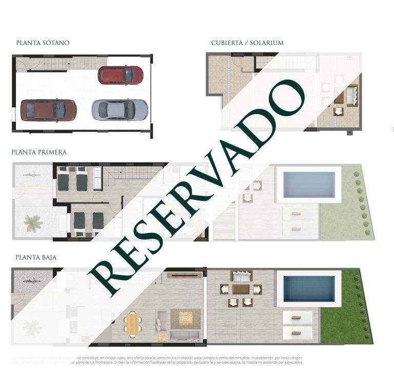 Plano comercial de una vivienda reservada con terraza en San Juan de Alicante