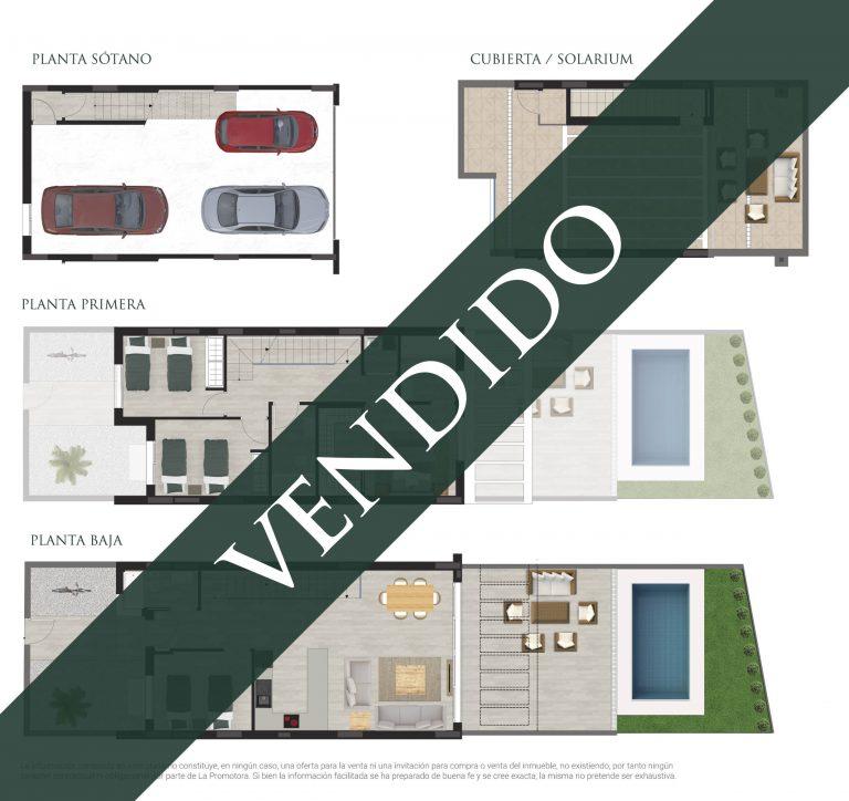 """Plano comercial de una vivienda vendida en Residencial """"Los Álamos"""" en San Juan de Alicante"""