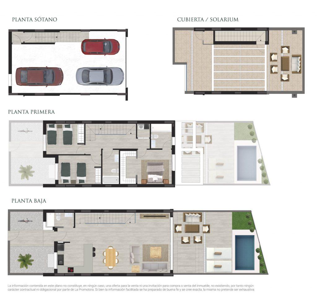 Plano comercial de una vivienda adosada con piscina