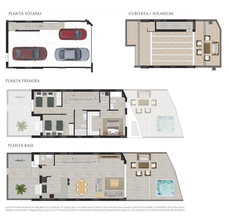Plano comercial de una vivienda adosada con jacuzzi