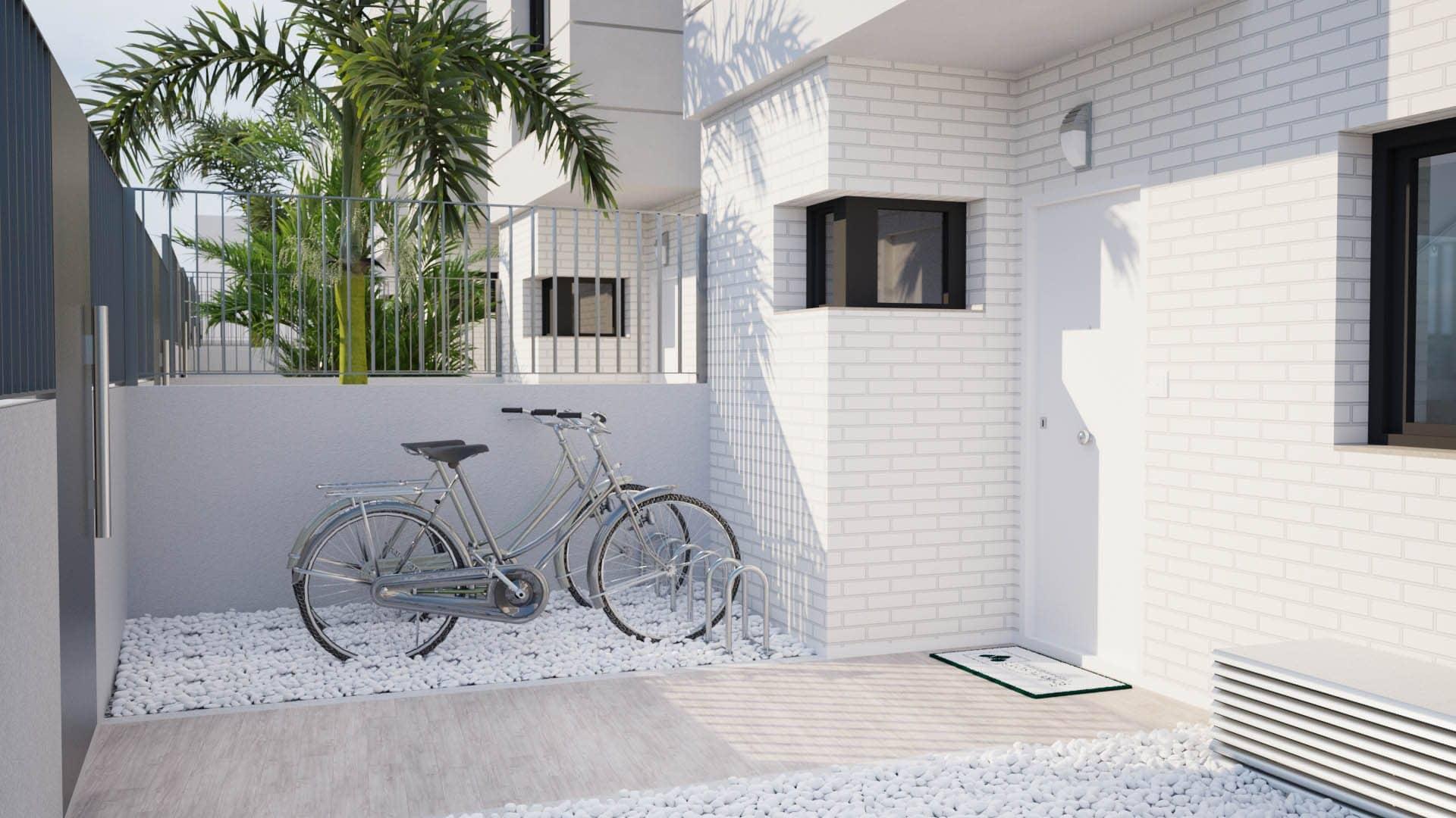 Imagen exterior de la fachada de una vivienda adosada en San Juan de Alicante