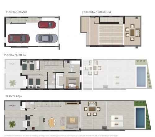 Plano de venta de una casa adosada en Residencial
